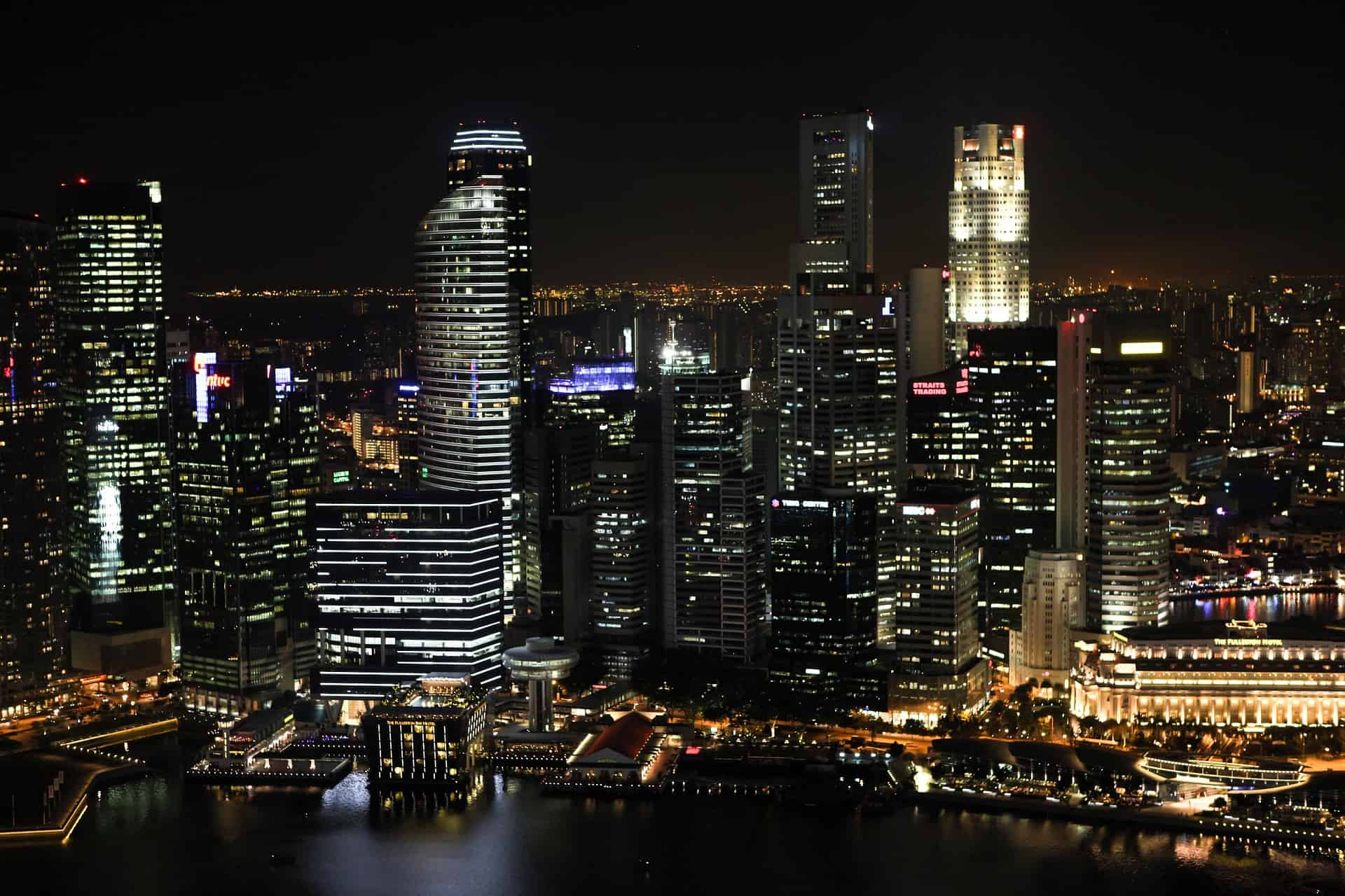 singapore business district skyline during night